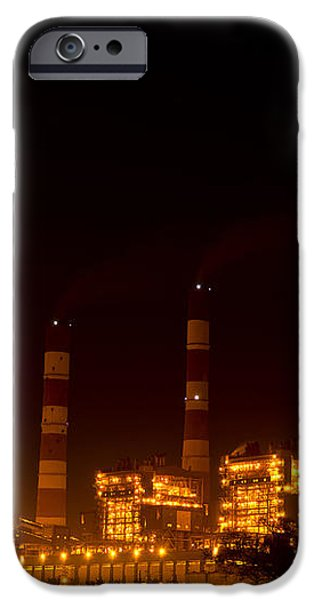 Industrial light in full moon night iPhone Case by Image World