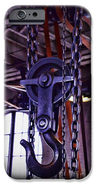 Pulley iPhone Cases - Industrial Strength Chains iPhone Case by Paul Ward