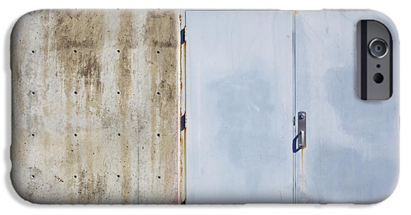 Building Feature iPhone Cases - Industrial unit double doors iPhone Case by Nathan Griffith