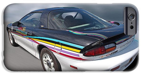 Indy Car iPhone Cases - Indy 500 Pace Car 1993 - Camaro Z28 iPhone Case by Gill Billington