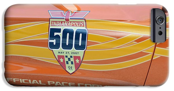Indy Car iPhone Cases - Indy 500 Pace Corvette Door iPhone Case by Edwina Hughes