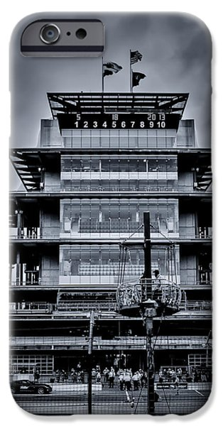 Indy Car iPhone Cases - Indy 500 Pagoda - Black and White iPhone Case by Ron Pate