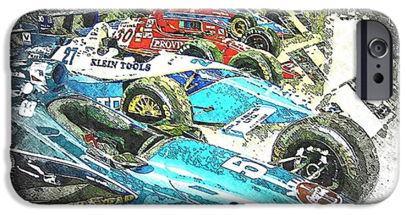 Indy Car iPhone Cases - Indy Race Car Line Up iPhone Case by Spencer McKain