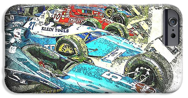 Indy Car Mixed Media iPhone Cases - Indy Race Car Line Up iPhone Case by Spencer McKain