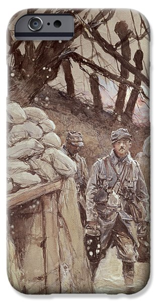 Harsh Conditions iPhone Cases - Infantrymen In A Trench, Notre-dame De Lorette, 1915 Wc On Paper iPhone Case by Francois Flameng