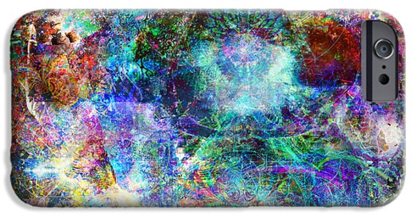 Fractal Other Worlds iPhone Cases - Infinite Bit 25 iPhone Case by Jerry Cannon