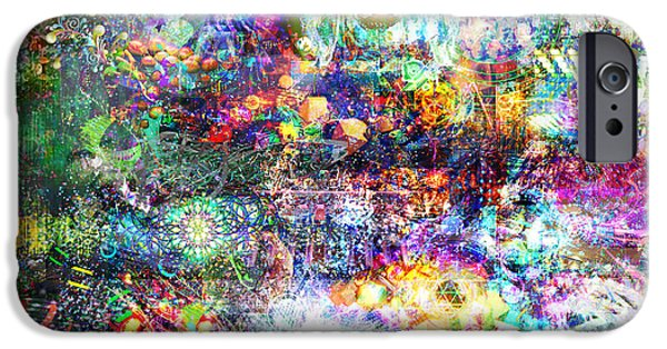 Fractal Other Worlds iPhone Cases - Infinite Bit 28 iPhone Case by Jerry Cannon