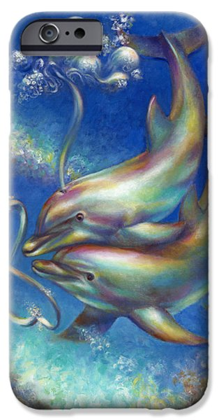Porpoise iPhone Cases - Infinity- Bottlenose Dolphins at Play iPhone Case by Nancy Tilles