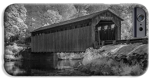 Covered Bridge iPhone Cases - Infrared Black and White Photograph of the Fallasburg Covered Bridge iPhone Case by Randall Nyhof