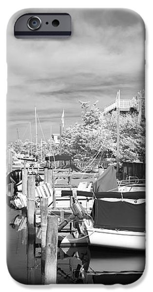 Infrared Boats at LBI bw iPhone Case by John Rizzuto
