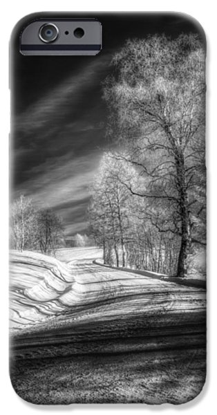 Snowy Day iPhone Cases - Infrared Winter Road BW iPhone Case by Erik Brede