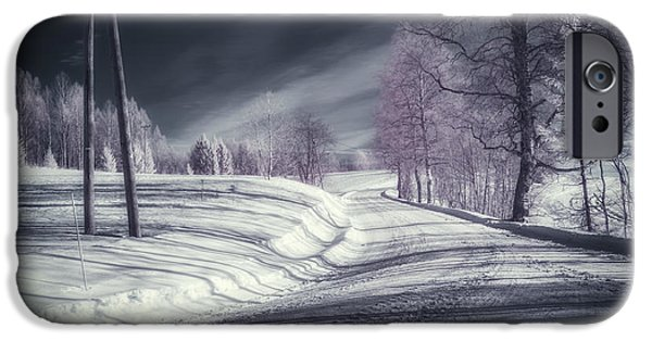 Nature Scene iPhone Cases - Infrared Winter Road iPhone Case by Erik Brede