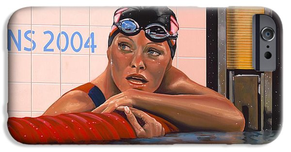 Summer Sports Paintings iPhone Cases - Inge de Bruijn iPhone Case by Paul Meijering