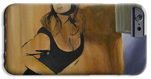 Hammer Paintings iPhone Cases - Ingrid on Cardboard iPhone Case by Cathal Gallagher
