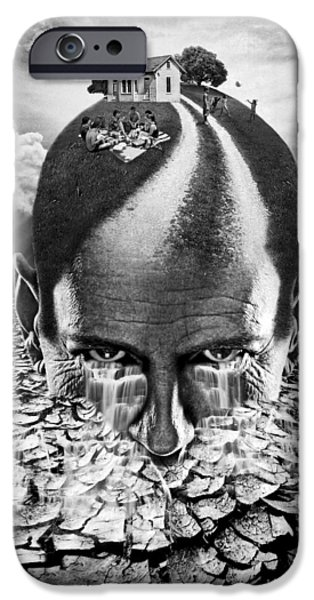 Strange Mixed Media iPhone Cases - Inhabited Head gray scale iPhone Case by Marian Voicu