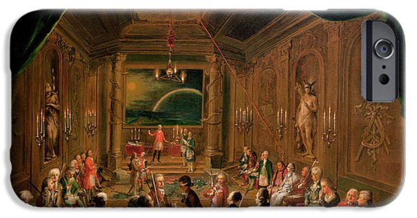 Ceremony iPhone Cases - Initiation Ceremony In A Viennese Masonic Lodge During The Reign Of Joseph Ii, With Mozart Seated iPhone Case by Ignaz Unterberger
