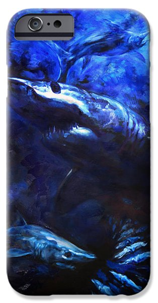 Sharks Paintings iPhone Cases - Inky Waters iPhone Case by Tom Dauria