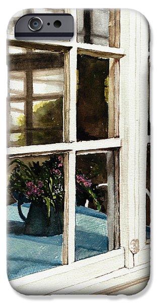 Old Pitcher Paintings iPhone Cases - Inn Window iPhone Case by Deborah Burow