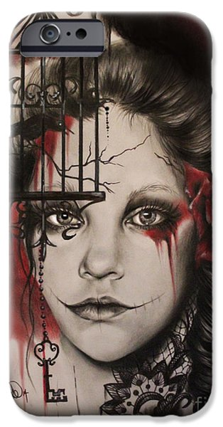 Crows Mixed Media iPhone Cases - Inner Demons  iPhone Case by Sheena Pike