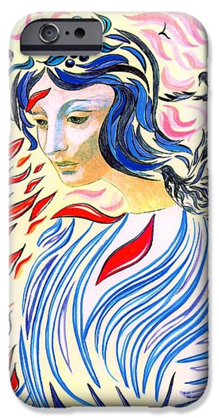 Spiritual Portrait Of Woman iPhone Cases - Inner Peace iPhone Case by Jane Small