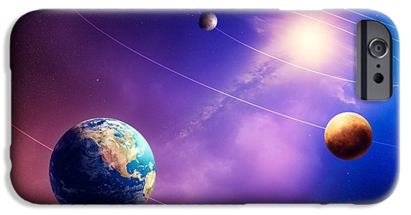 View Digital Art iPhone Cases - Inner solar system planets iPhone Case by Johan Swanepoel