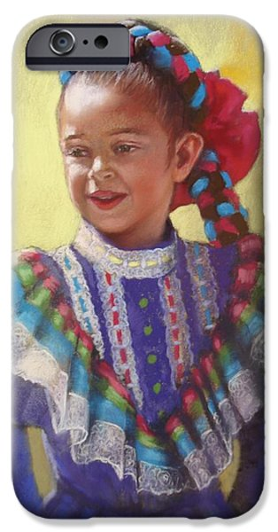Young Paintings iPhone Cases - Innocence iPhone Case by Cecile Houel