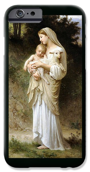 Innocence Paintings iPhone Cases - innocence Duvet iPhone Case by William Bouguereau