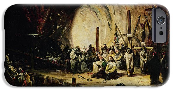 Intolerance iPhone Cases - Inquisition Scene, 1851 Oil On Canvas iPhone Case by Eugenio Lucas y Padilla