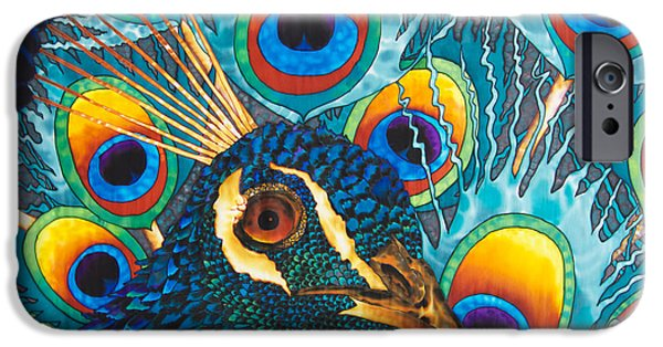 Animals Tapestries - Textiles iPhone Cases - Insane Peacock iPhone Case by Daniel Jean-Baptiste