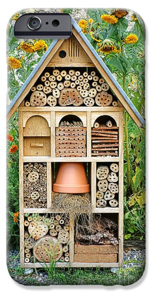 Refuge iPhone Cases - Insect Hotel iPhone Case by Olivier Le Queinec
