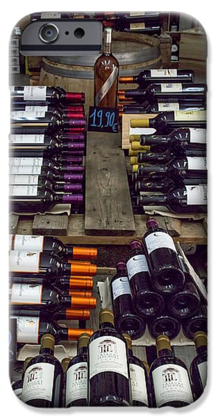 Wine Bottles iPhone Cases - Inside A French Wine Store iPhone Case by Nomad Art And  Design