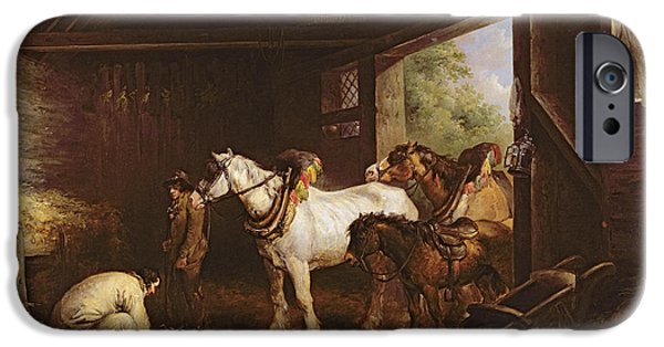 Reining iPhone Cases - Inside A Stable Oil On Canvas iPhone Case by George Morland