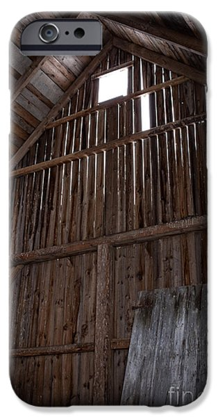 Old Barns iPhone Cases - Inside an old barn iPhone Case by Edward Fielding