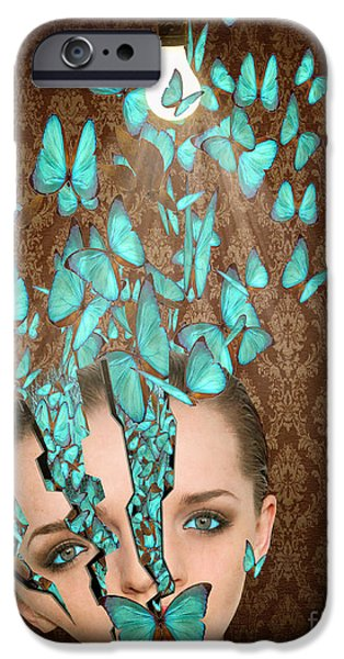 Conceptual iPhone Cases - Inside Her Head iPhone Case by Juli Scalzi