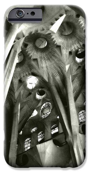 La Sagrada Famila iPhone Cases - inside La Sagrada Familia iPhone Case by Kristi Henigar