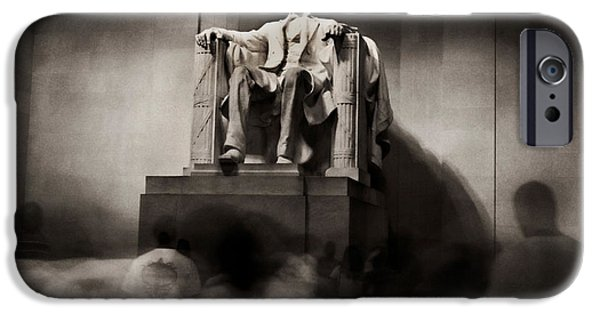 President iPhone Cases - Inside Lincoln Memorial At Night iPhone Case by Greg and Chrystal Mimbs