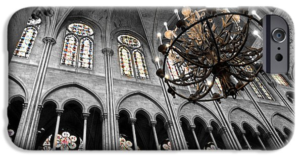 iPhone Cases - Inside Notre Dame Chandelier and Stain Glass Windows iPhone Case by Denise Dube