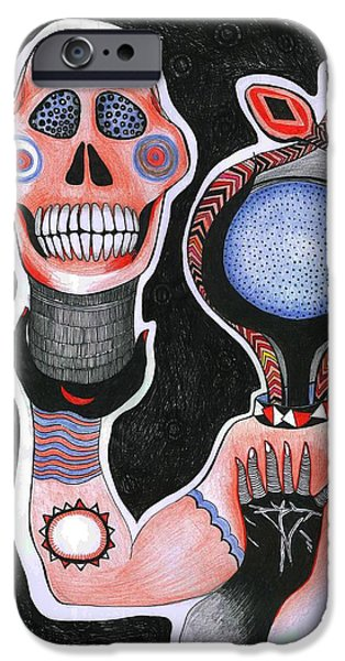 Strange iPhone Cases - Inside-out, 2012 Pen, Ink And Colour Pencils On Paper iPhone Case by Zanara/ Sabina Nedelcheva-Williams