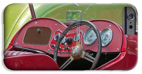 Old Cars iPhone Cases - Red MG-TD Convertible  iPhone Case by Terri  Waters