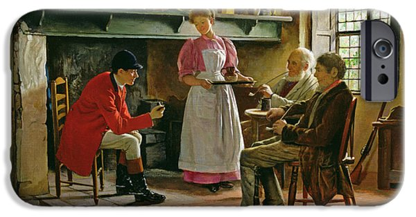 Pub iPhone Cases - Inside The Lygon Arms, Broadway, 1896 iPhone Case by Claude Pratt