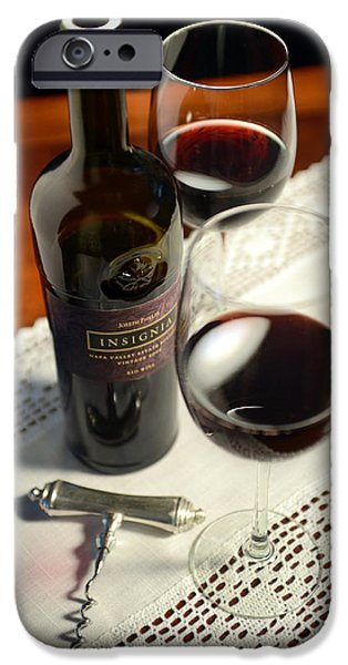 Red Wine iPhone Cases - Insignia for Two iPhone Case by Jon Neidert