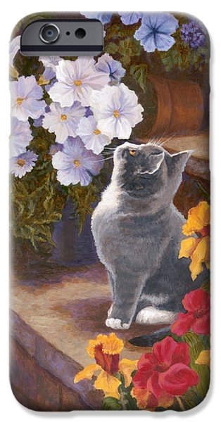 Kitten iPhone Cases - Inspecting the Blooms iPhone Case by Evie Cook