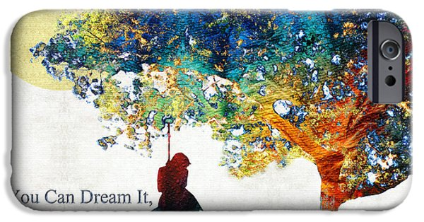 Thinking Paintings iPhone Cases - Inspirational Art - You Can Do It - Sharon Cummings iPhone Case by Sharon Cummings