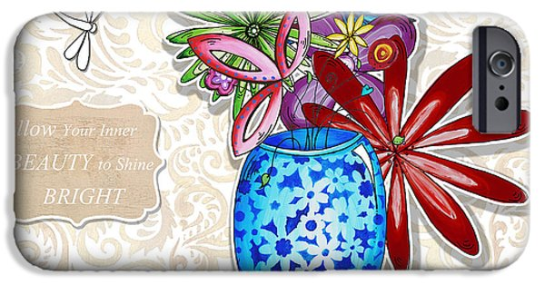 Joyful Drawings iPhone Cases - Inspirational Floral Dragonfly Painting Flower Vase with quote by Megan Duncanson iPhone Case by Megan Duncanson
