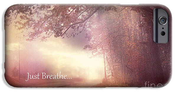 Scenic Drive iPhone Cases - Inspirational Nature - Dreamy Surreal Ethereal Inspirational Art Print - Just Breathe.. iPhone Case by Kathy Fornal