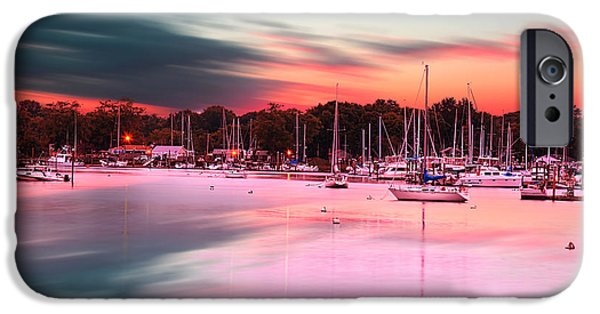 Warwick iPhone Cases - Inspiring View - Rhode Island At Dusk Warwick Neck Marina Harbor Sunset iPhone Case by Lourry Legarde
