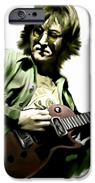 INSTANT KARMA  JOHN LENNON iPhone Case by Iconic Images Art Gallery David Pucciarelli