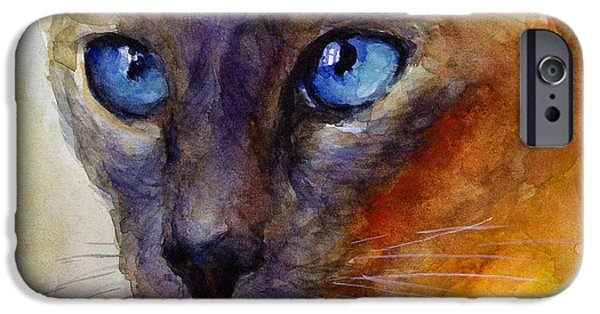 Cat Drawings iPhone Cases - Intense Siamese Cat painting print 2 iPhone Case by Svetlana Novikova