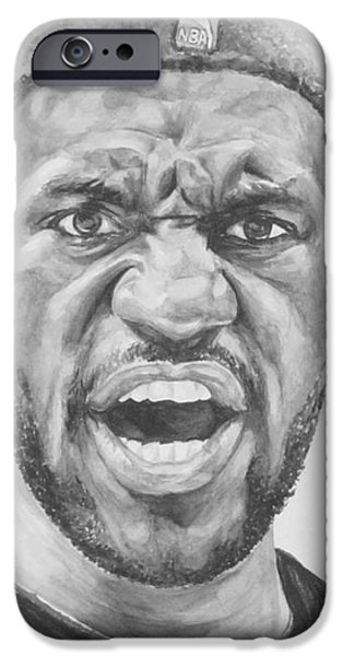Lebron iPhone Cases - Intensity Lebron James iPhone Case by Tamir Barkan
