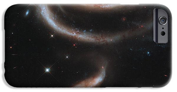 Heavenly Body iPhone Cases - Interacting Galaxies Arp 273 iPhone Case by Science Source